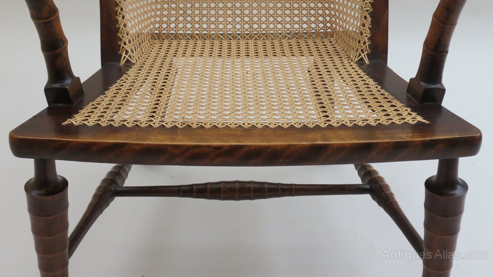 19th Century Cane Easy Chair Antique Armchairs %%alt5%% ...