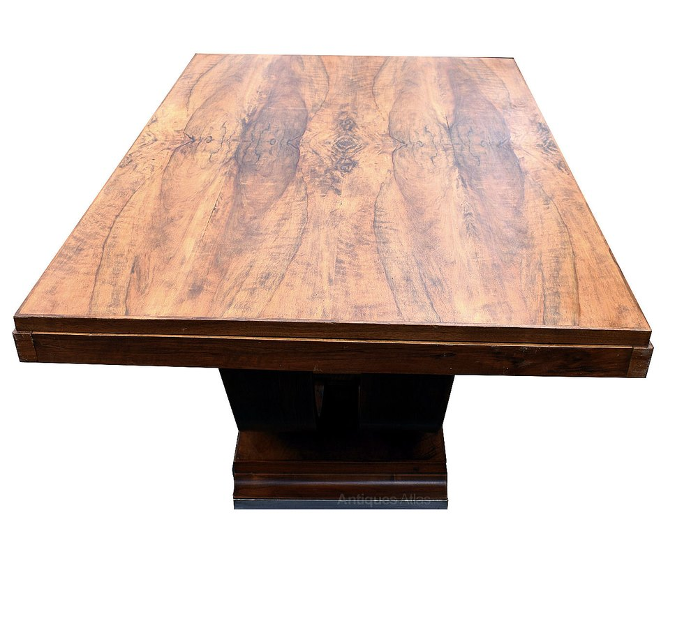 1930s art deco walnut u base dining table antiques atlas 193