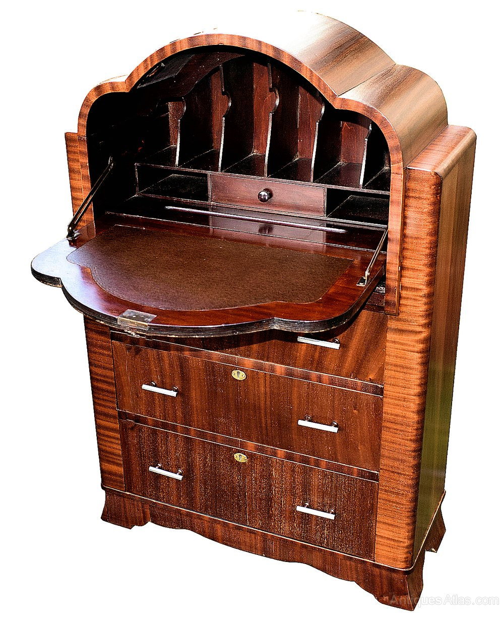 Art deco mahogany cloud bureau antiques atlas for Deco bureau