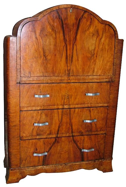 superb art deco cloud walnut bureau antiques atlas. Black Bedroom Furniture Sets. Home Design Ideas