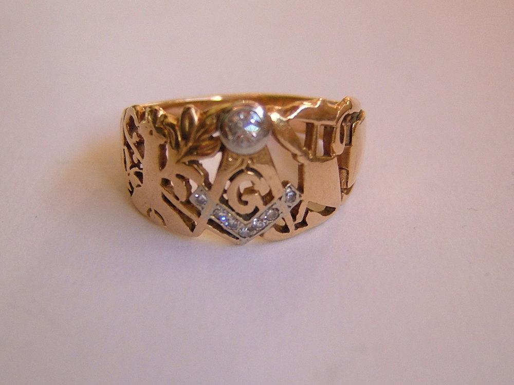 antiques atlas 14ct gold set masonic ring