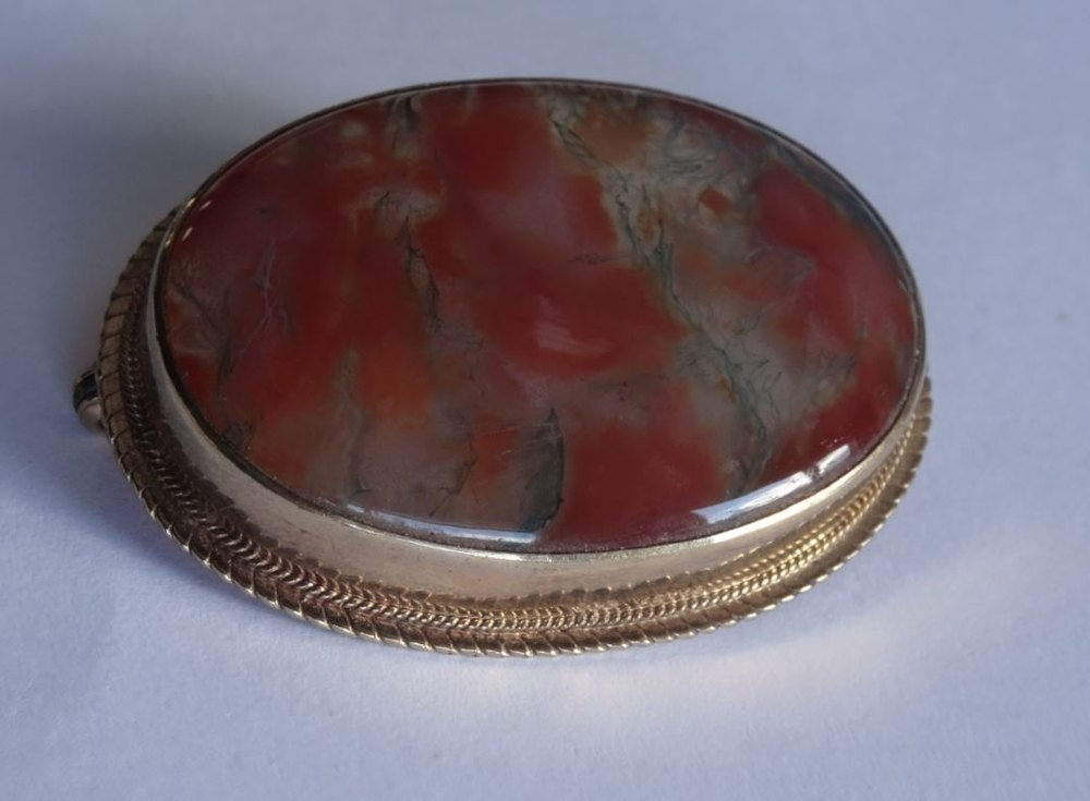 Antiques Atlas 9ct Gold Scottish Agate Brooch Or Pendant
