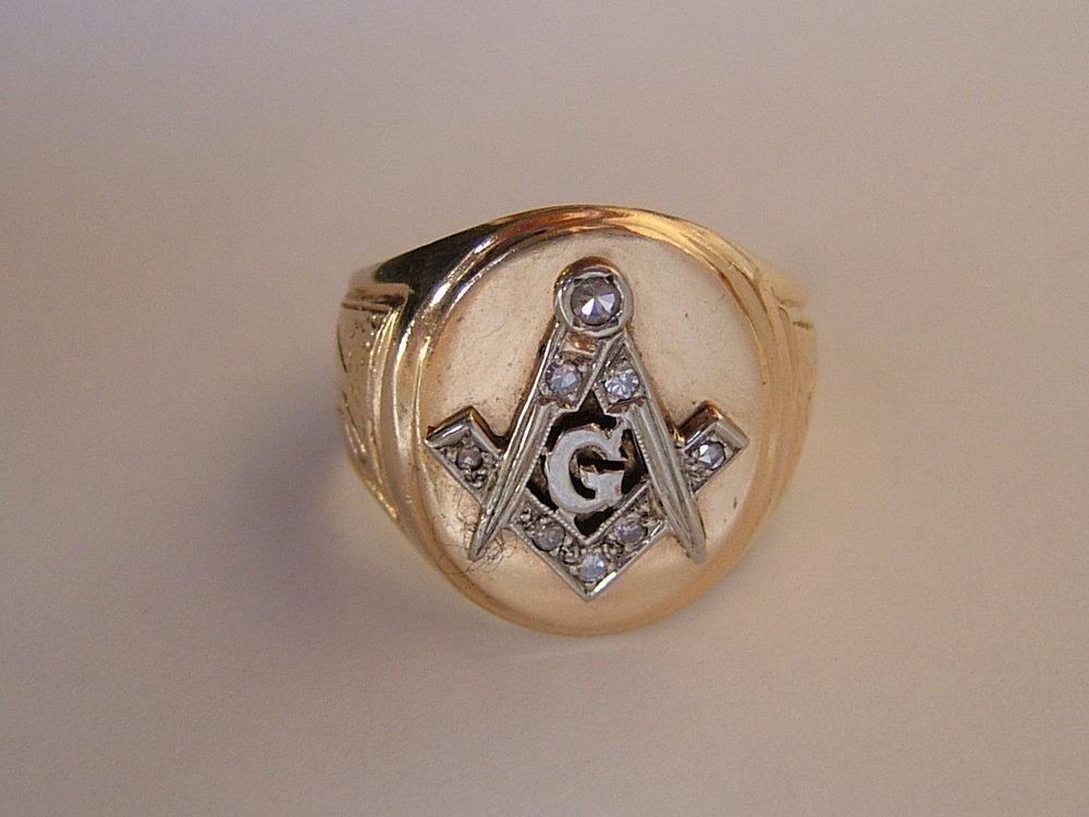 antiques atlas gold set masonic ring