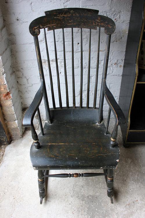 Ebonised Amp Gilt Decorated C 1840 Boston Rocker