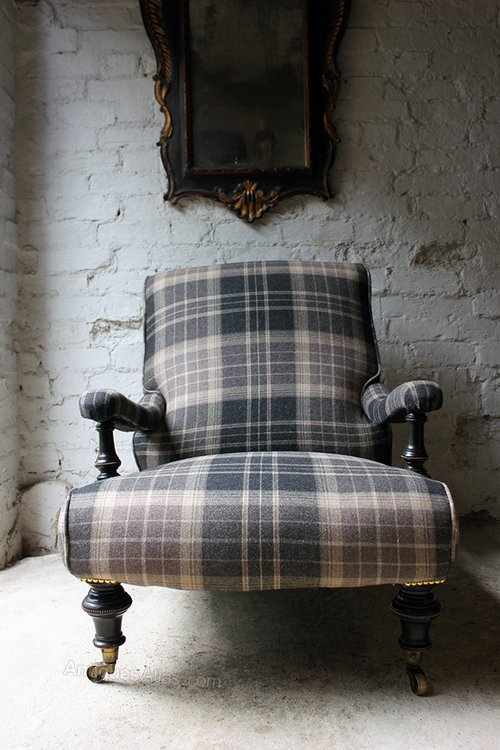 Ebonised & Tartan Upholstered Victorian Armchair ...