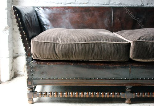 Oak leather corduroy upholstered studded sofa for Studded leather sofa