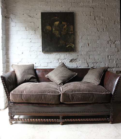 Oak leather corduroy upholstered studded sofa for Leather studded couch