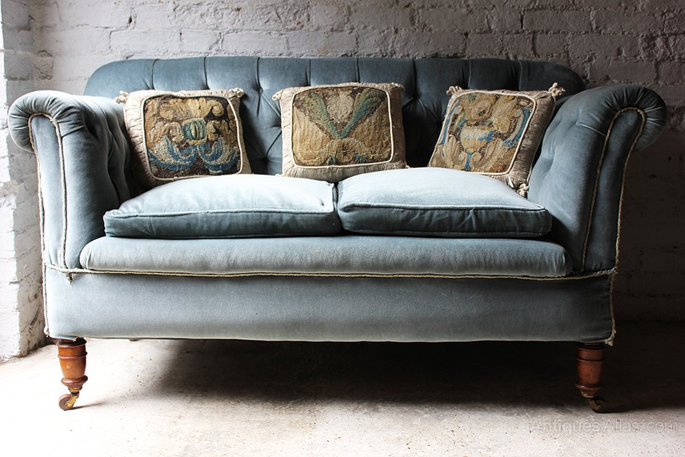 Pretty Velvet Drop End Chesterfield Sofa Antiques
