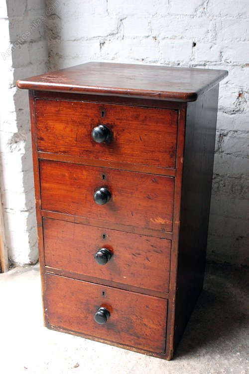 Victorian stained pine bedside chest of drawers antiques for Small bedside chest of drawers
