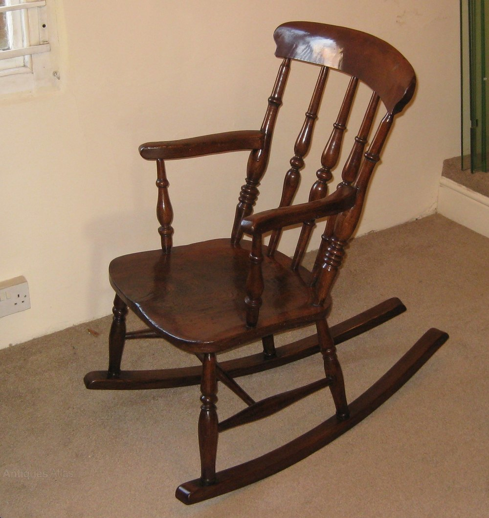 Old Rocking Chairs ~ Victorian elm and beech rocking chair antiques atlas