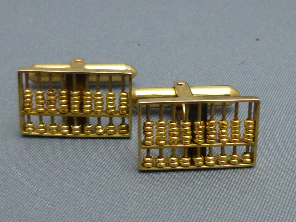 Antiques Atlas 14ct Gold Abacus Cufflinks