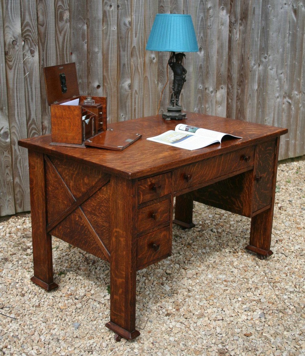 American arts and crafts mission partners desk antiques for Art and craft workstation