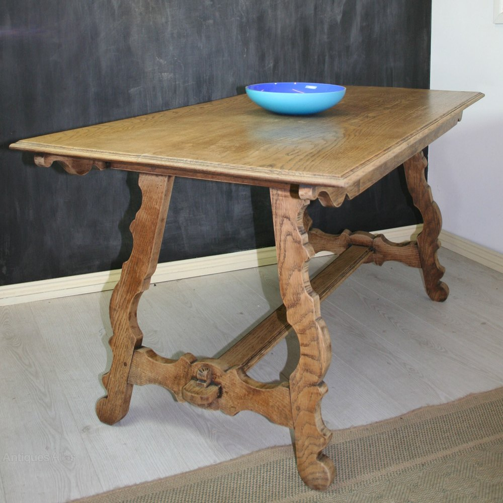 Arts and crafts spanish style oak dining table antiques for Arts and crafts style table