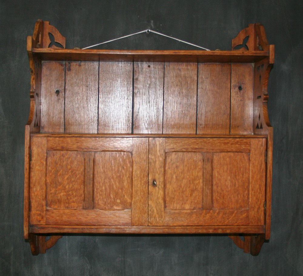 Small Oak Hanging Cabinet Antique Wall Cabinets ... - Small Oak Hanging Cabinet - Antiques Atlas
