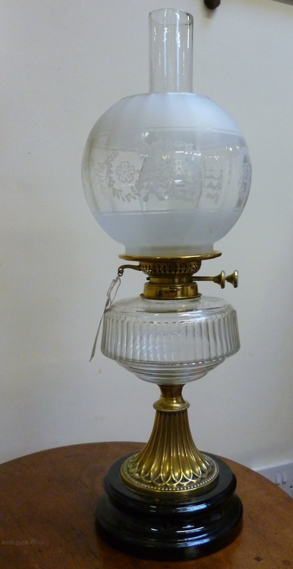 late victorian brass oil lamp complete with shade and chimney. Black Bedroom Furniture Sets. Home Design Ideas