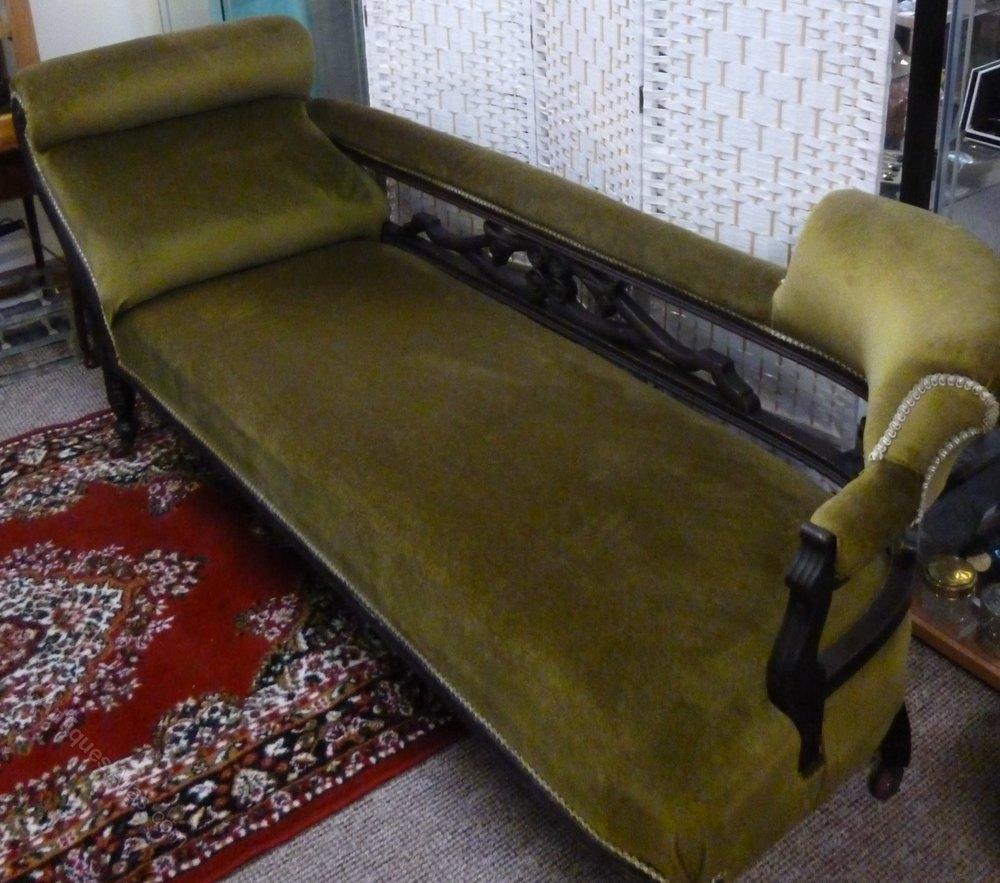 Edwardian Chaise Lounge In Green Velvet Antiques Atlas