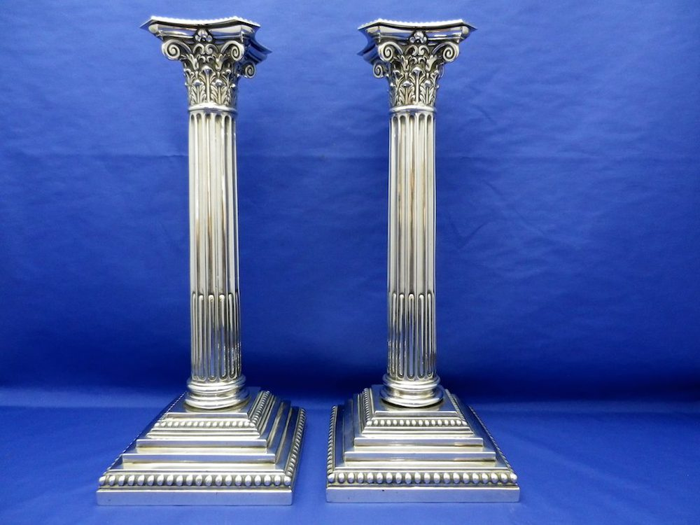 Lovely Pair Of Tall Antique Silver Candlesticks | 684348
