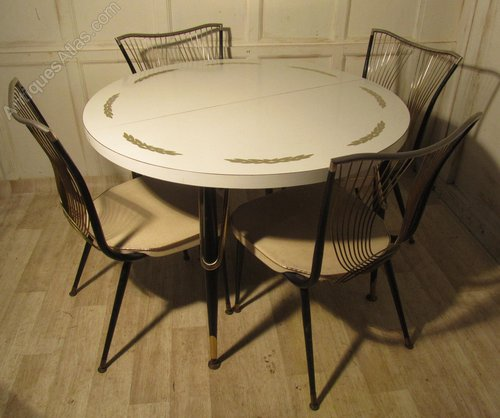 antiques atlas 1960 70s retro round formica table and 4 chairs. Black Bedroom Furniture Sets. Home Design Ideas