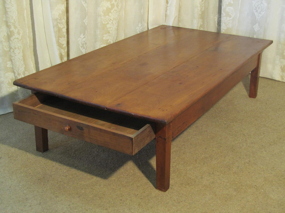 19th French Cherry Wood Farmhouse Coffee Table Antiques