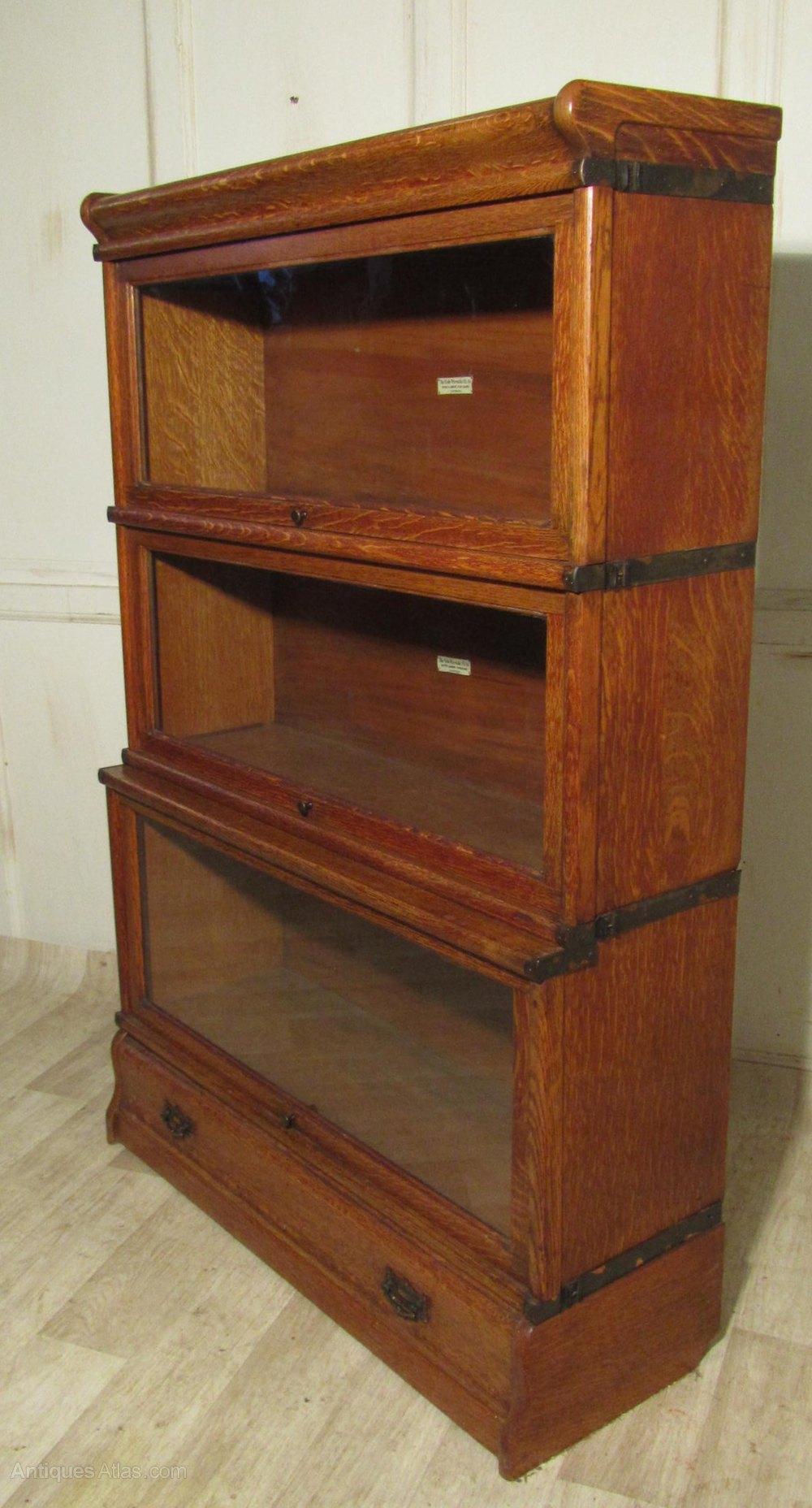 3 Stack Oak Globe Wernicke Barristers Bookcase Or ...