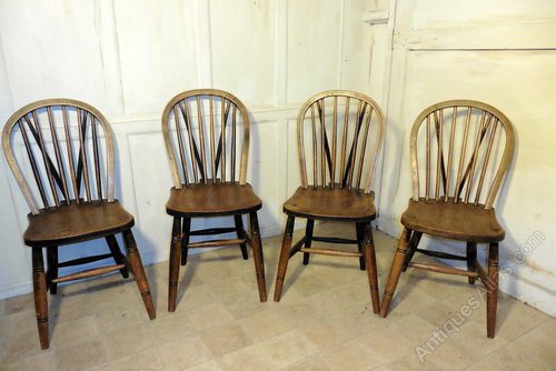 4 High Wycombe Beech Elm Hoop Windsor Chairs Antiques Atlas