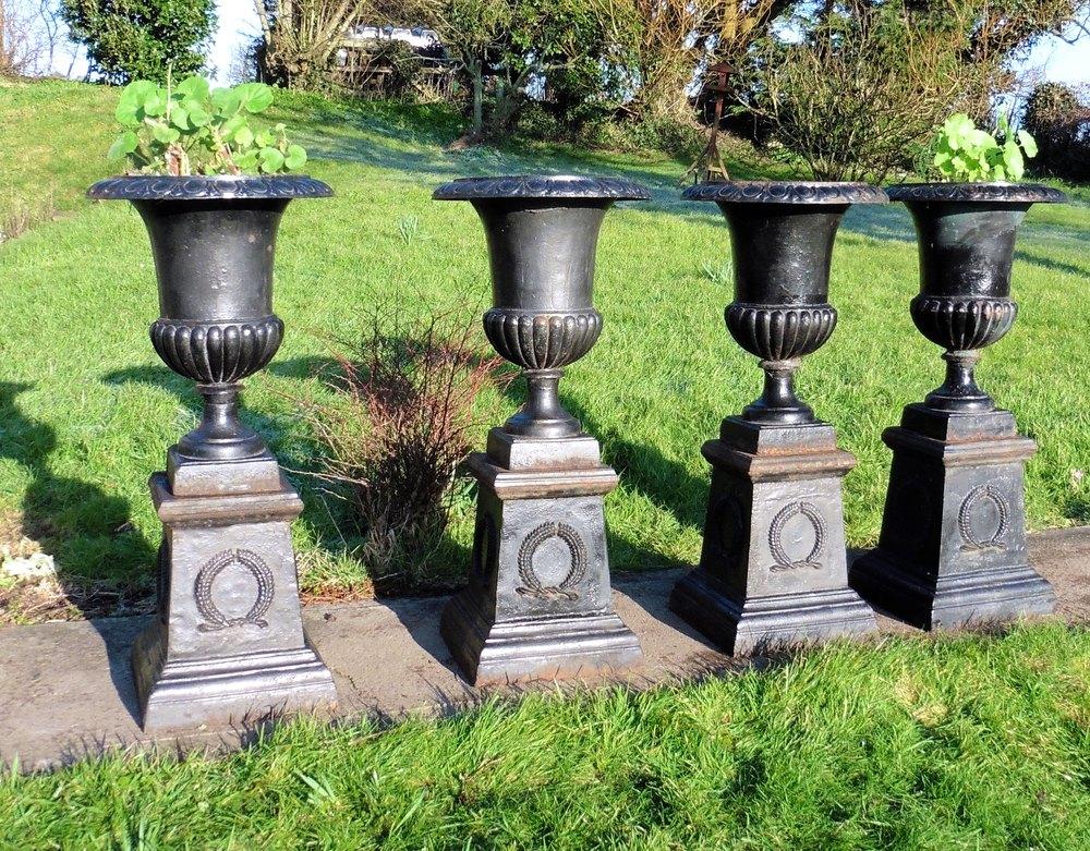 4 Large Victorian Cast Iron Urns, Garden