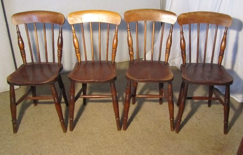 4 victorian beech elm stick back kitchen chairs