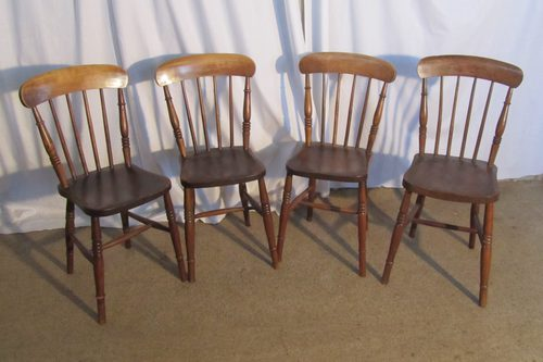 4 victorian elm stick back kitchen dining chairs