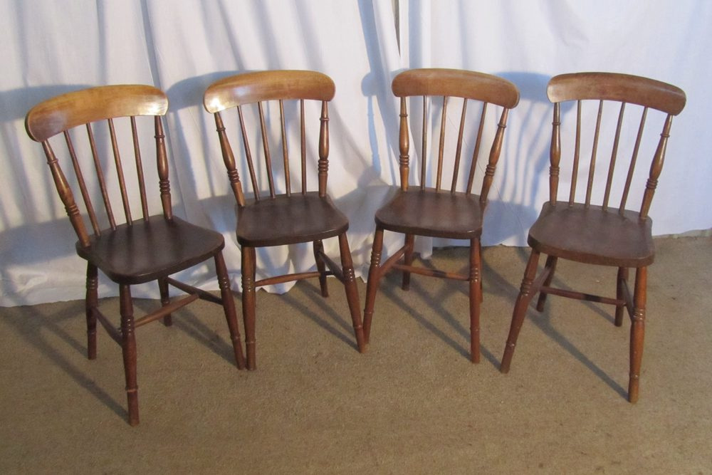 4 Victorian Elm Stick Back Kitchen Dining Chairs Antiques Atlas