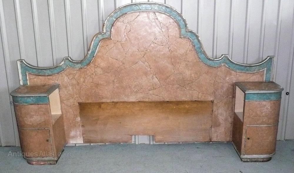 5ft Maples Art Deco Bed Headboard Bedside Cupboard