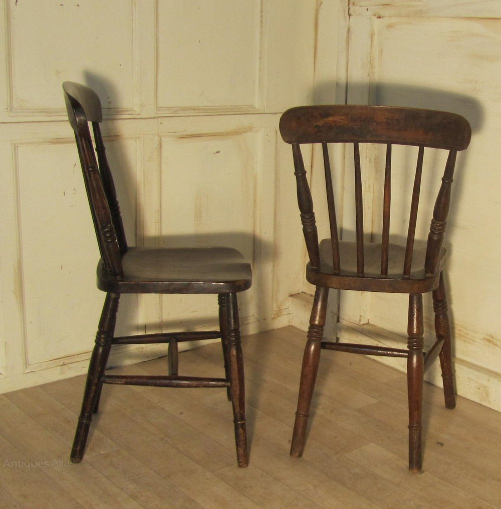 6 Victorian Beech Elm Country Kitchen Chairs Antiques Atlas