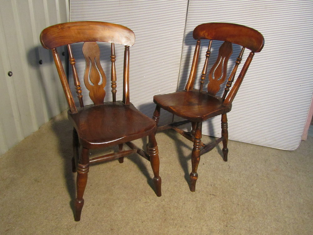 6 Victorian Fiddle Back Farmhouse Kitchen Chairs