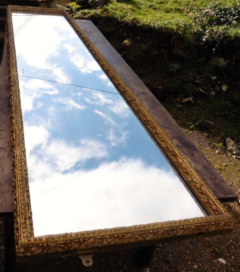 Antiques atlas 9ft long very large victorian gold wall for Long wide mirror
