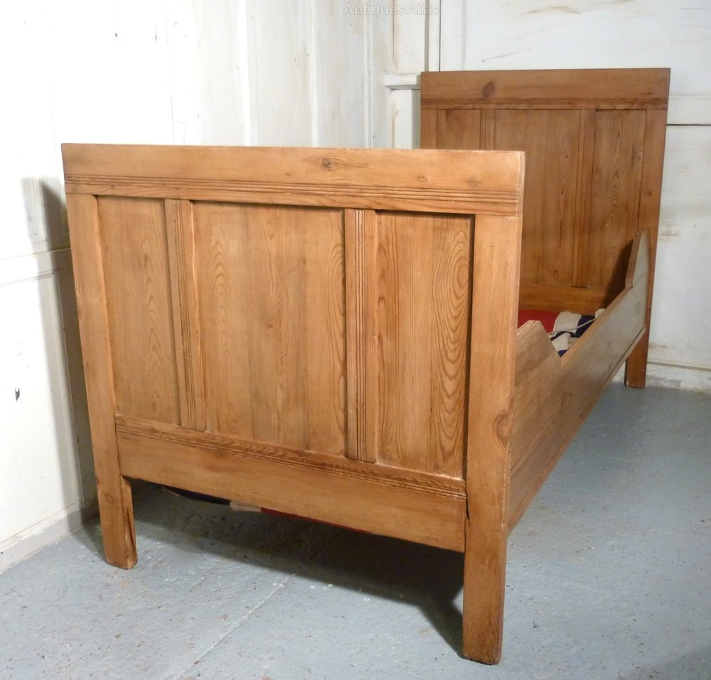 Antique Pine Sleigh Bed Single