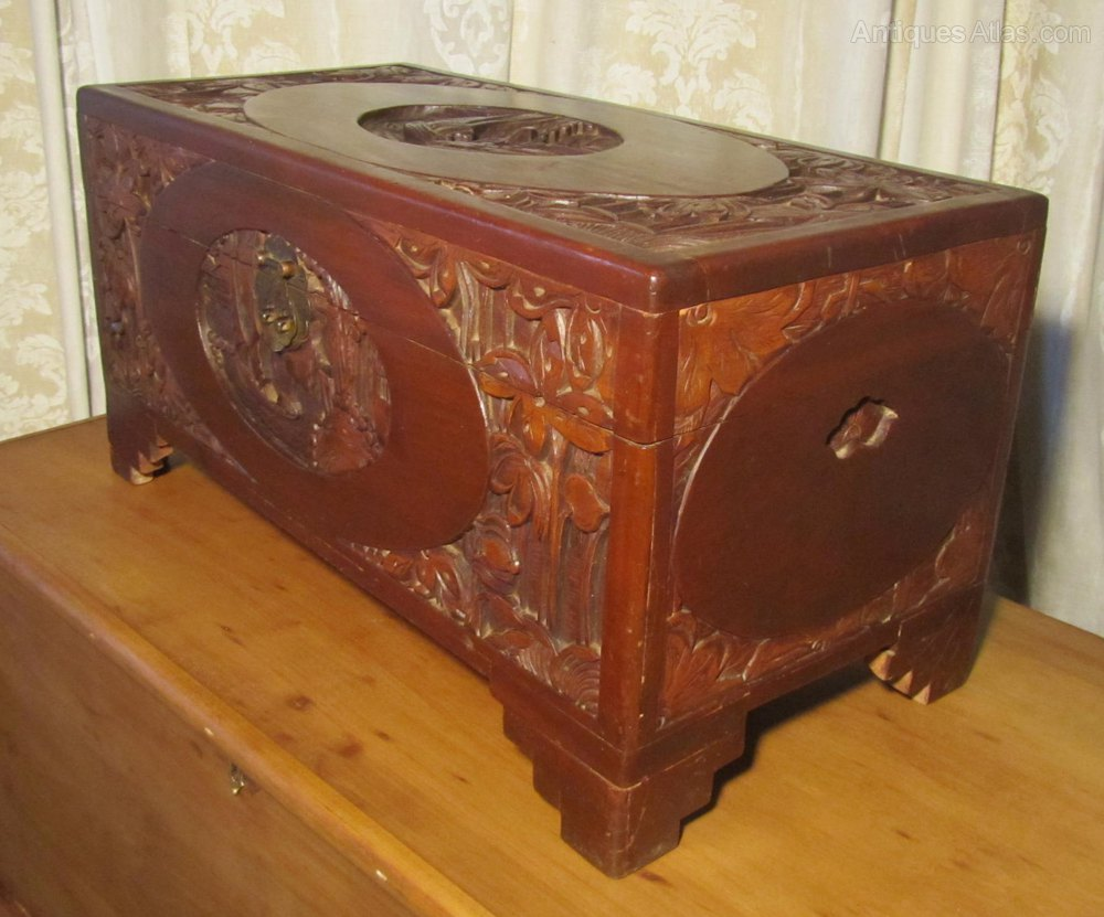 A carved oriental camphor wood chest antiques atlas for Oriental wood carved furniture