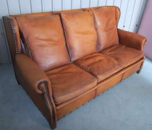 Art deco wooden chairs - French Shabby Leather Art Deco Wing Back Sofa Antiques Atlas