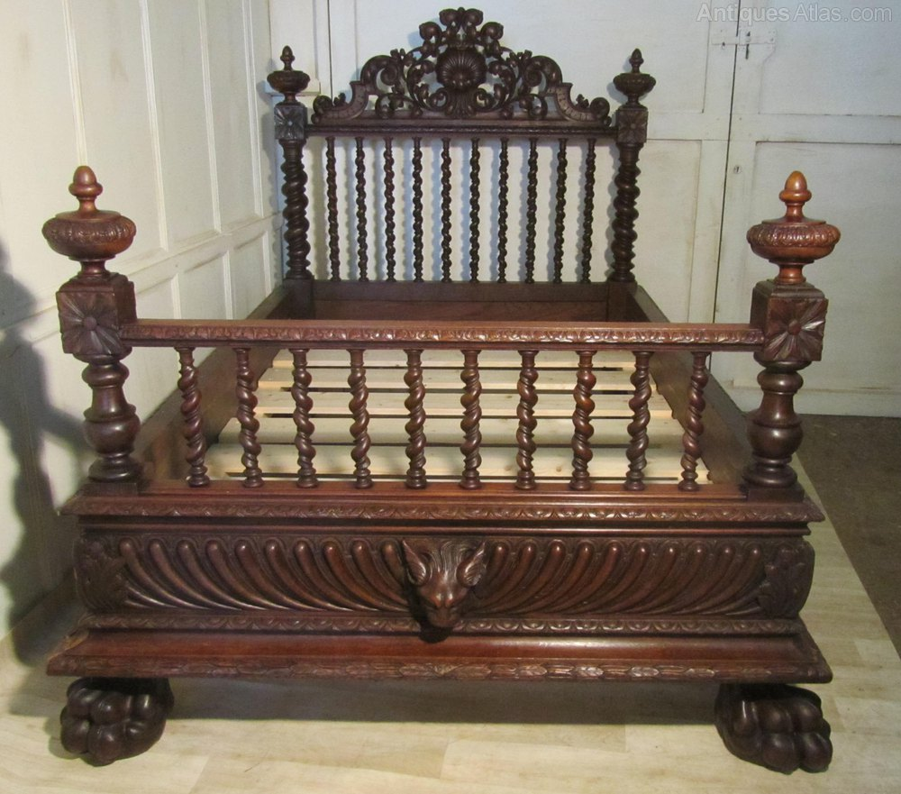A Heavily Carved French Oak Small Double Bed Antiques Atlas