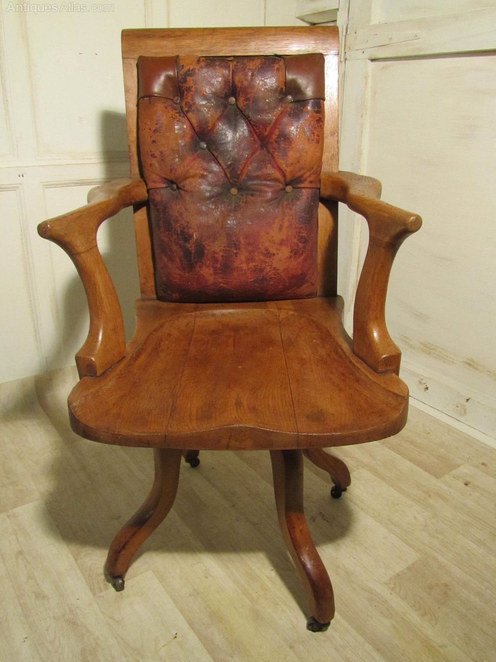 A Large Shabby Oak And Leather Office Chair Antiques Atlas