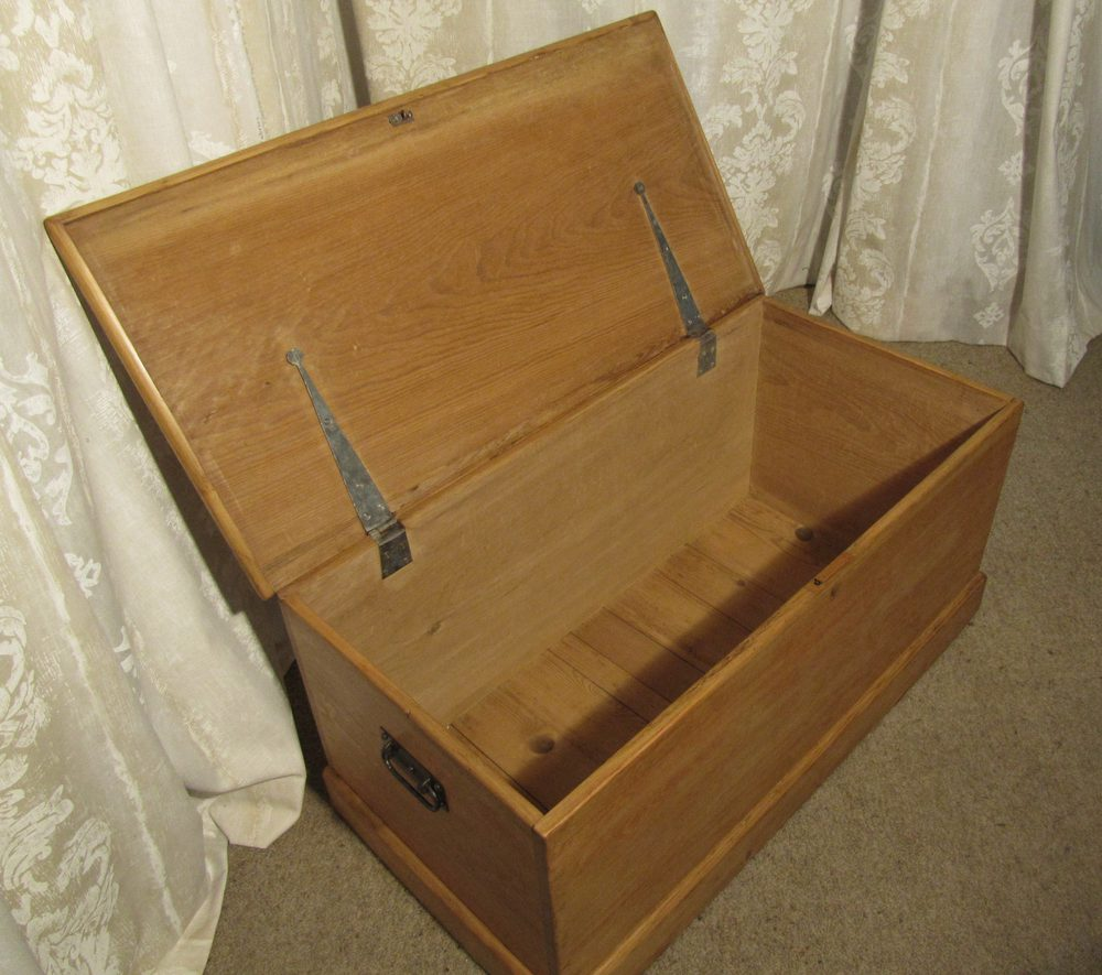 Victorian Pine Coffee Table: A Large Victorian Pine Blanket Box Or Coffee Table