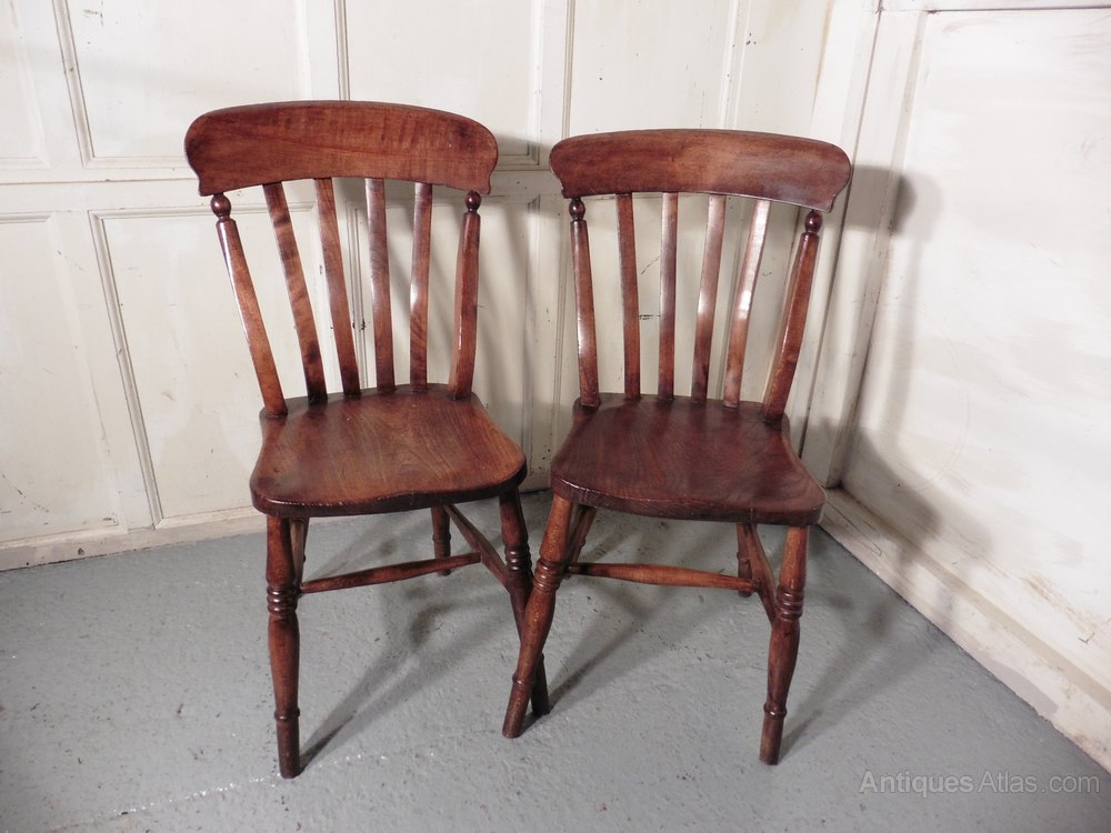A Pair Beech Elm Country Kitchen Dining Chairs Antiques Atlas
