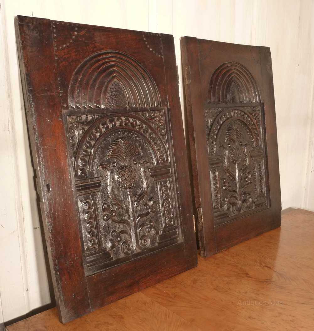 Antiques atlas a pair of superbly carved oak door panels