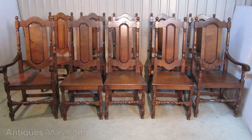 A Set Of 10 Heavy Oak High Back Dining Chairs