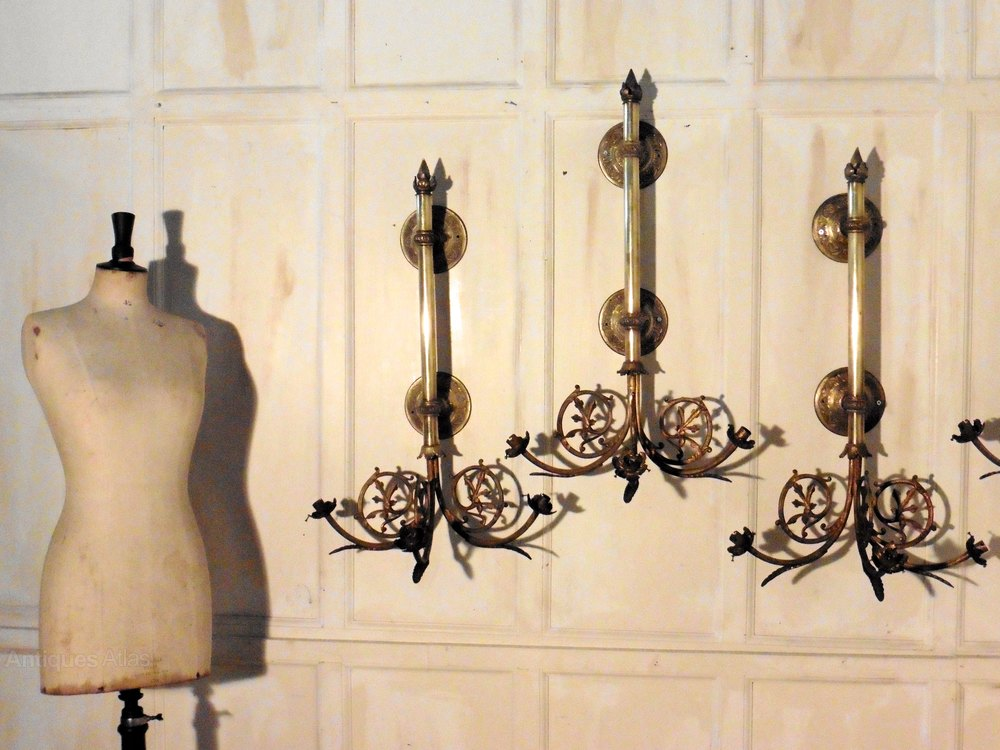Antiques Atlas - Set Of 4 French Very Large Brass Triple Wall Lights