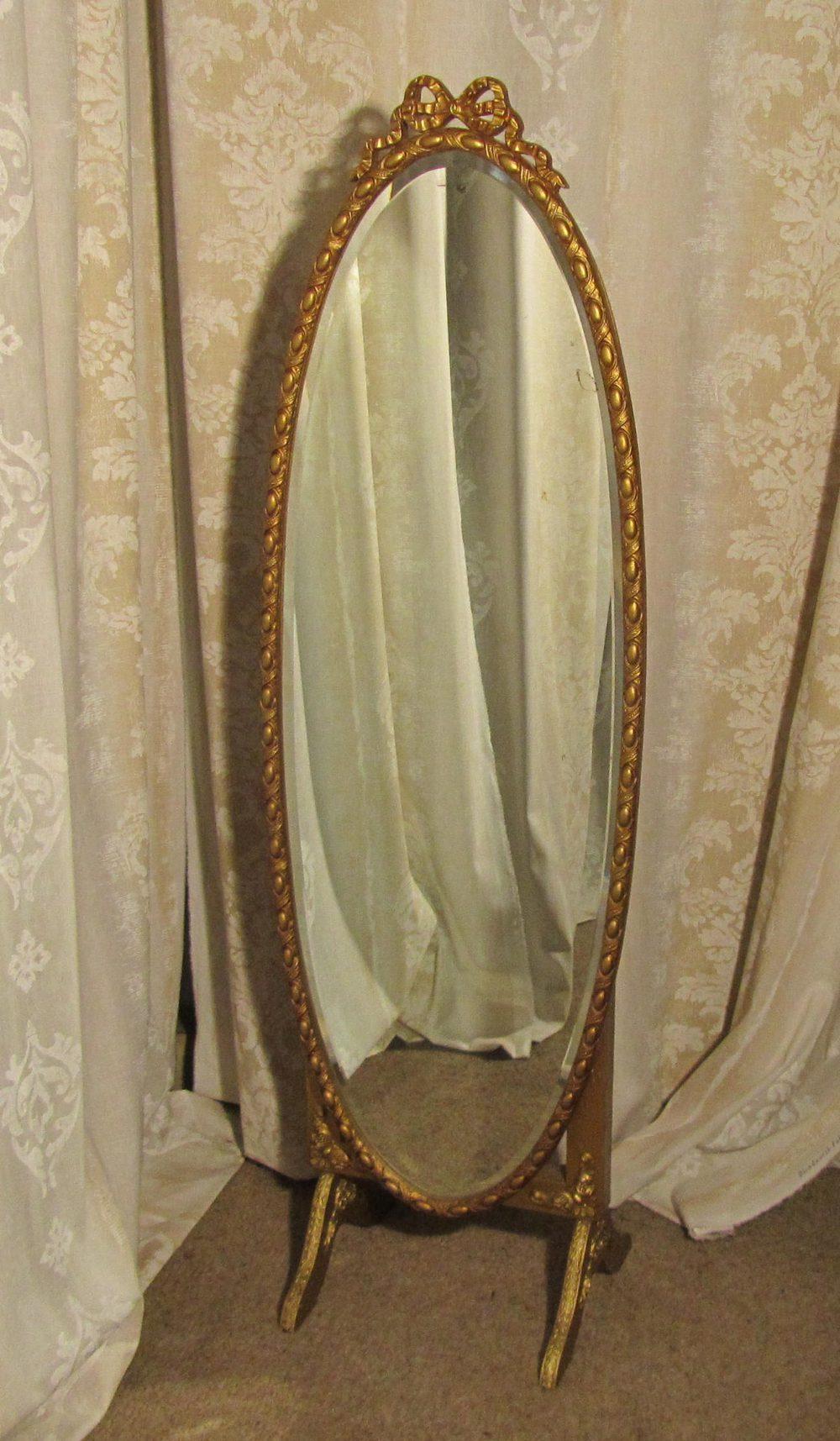 antiques atlas a superb art deco gilt oval cheval mirror. Black Bedroom Furniture Sets. Home Design Ideas