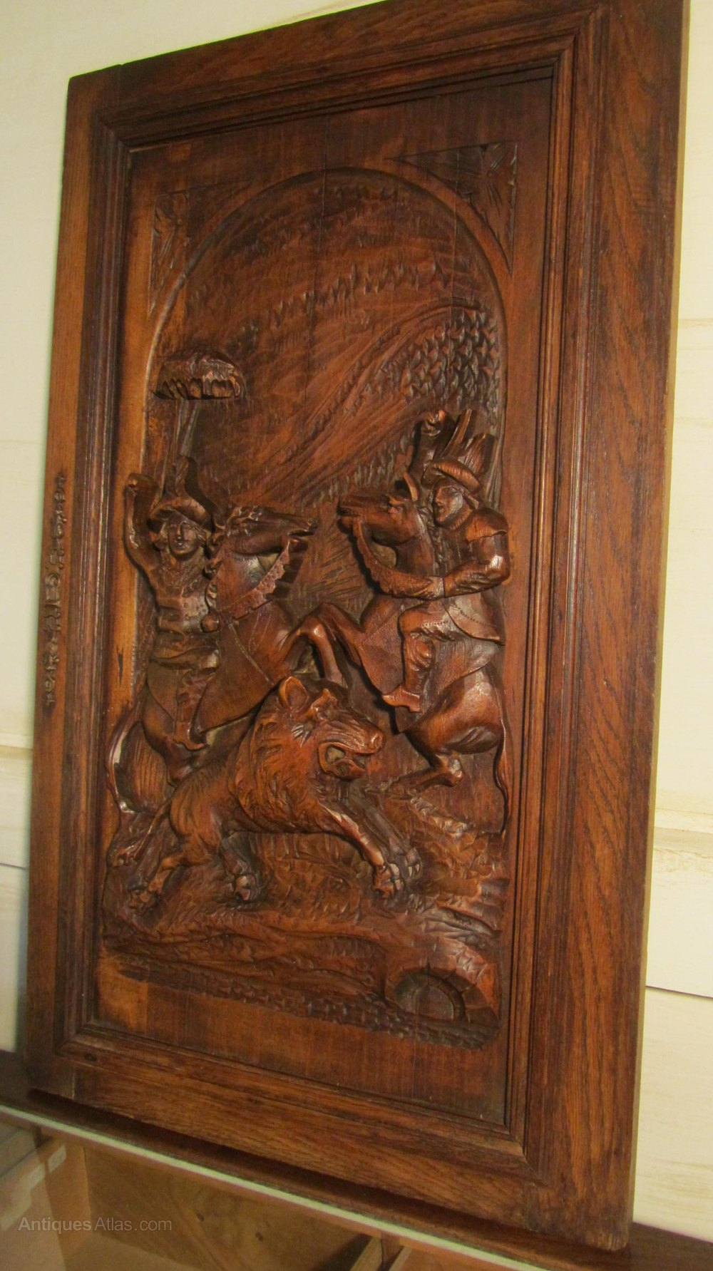 Antiques atlas a superbly carved oak door panel