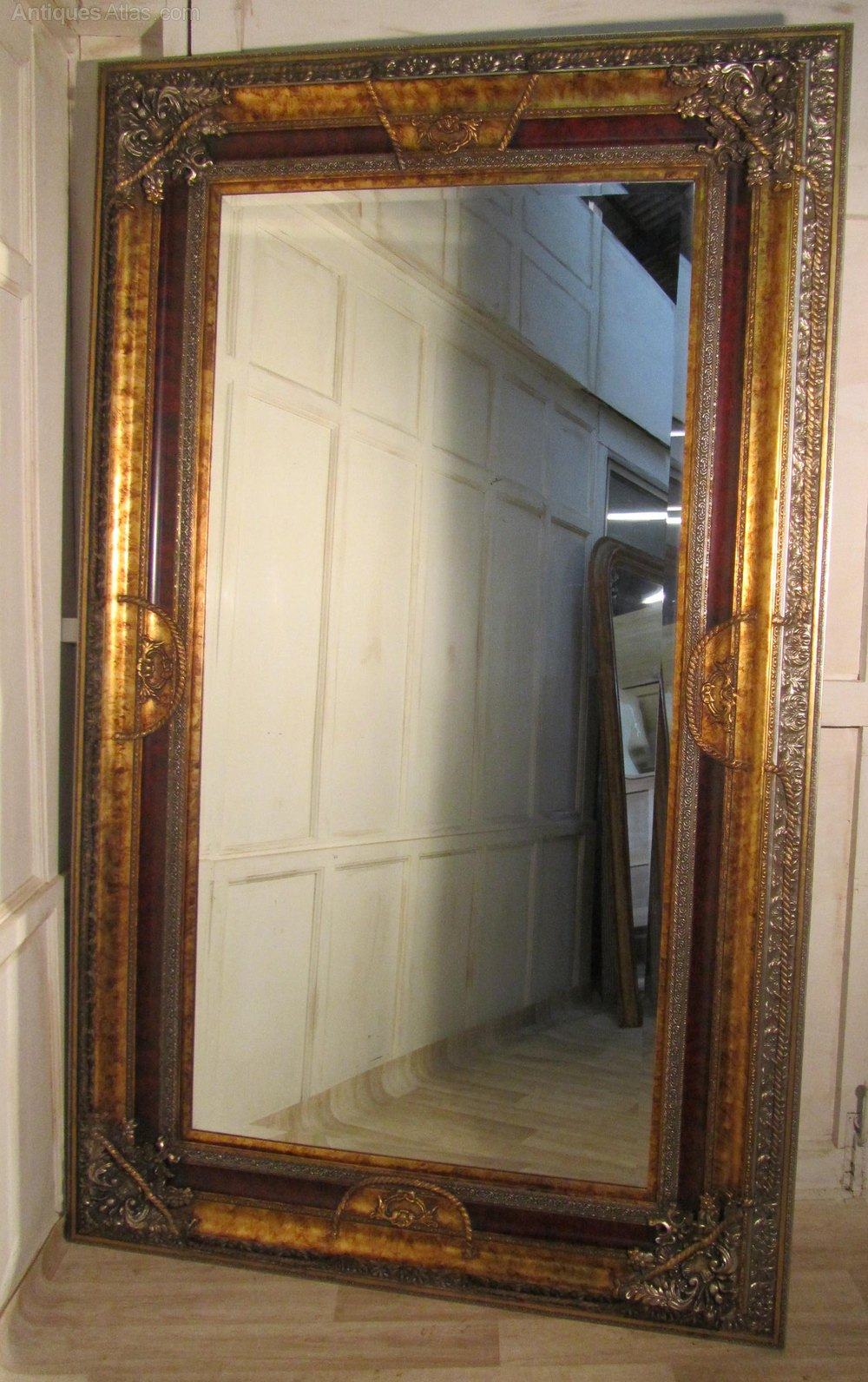 Antiques atlas a very large 8ft decorative wall mirror for Large framed mirrors for walls