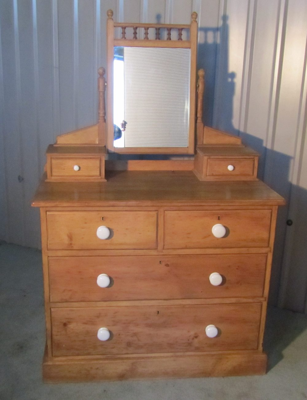 A Victorian Pine Dressing Table Chest Of Drawers
