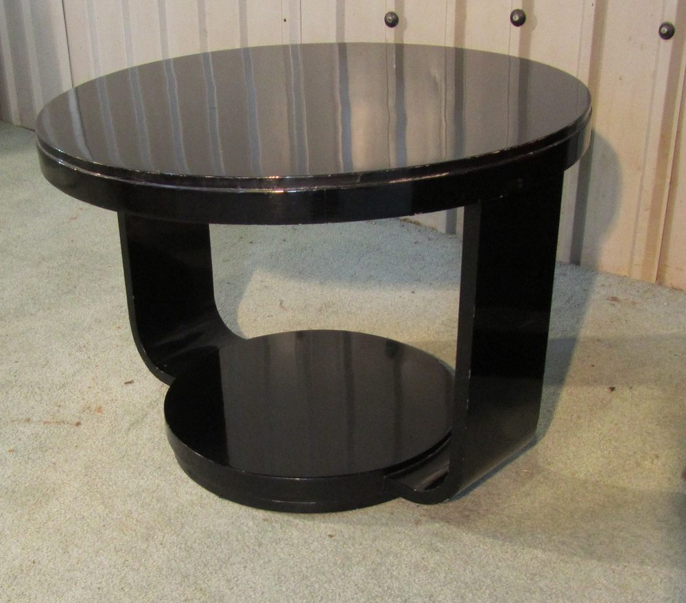 Art Deco Black Lacquered Round Coffee Table Antiques Atlas