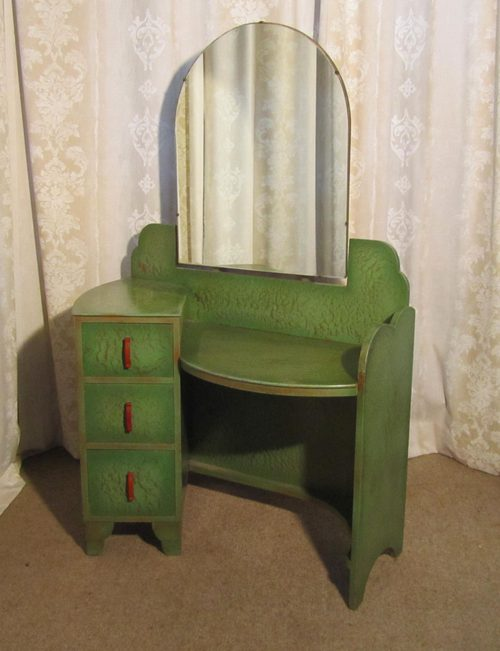 Art Deco Green Amp Gold Odeon Style Dressing Table
