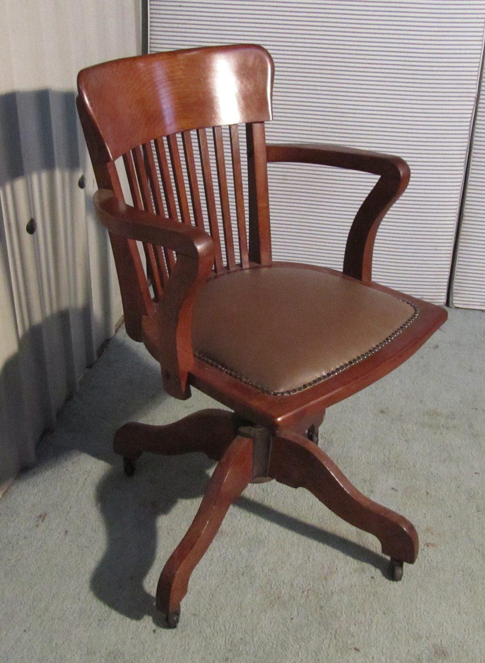 Art deco medium oak office desk chair antiques atlas for Antique office chair